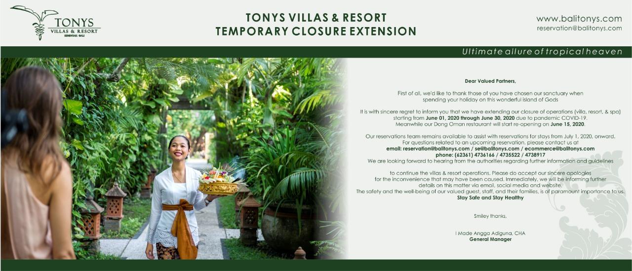 Tonys Villas & Resorts Offer